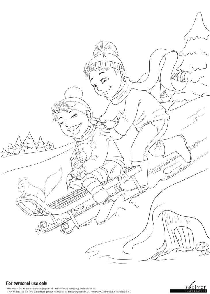 Sleighride - colouring page