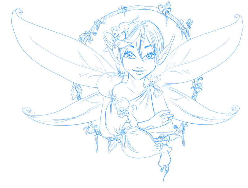 January fairy sketch