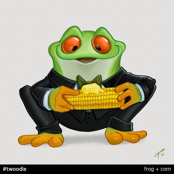 Twoodle:  frog + corn