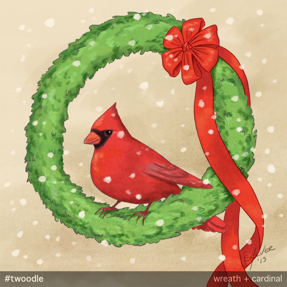 #Twoodle: cardinal + wreath