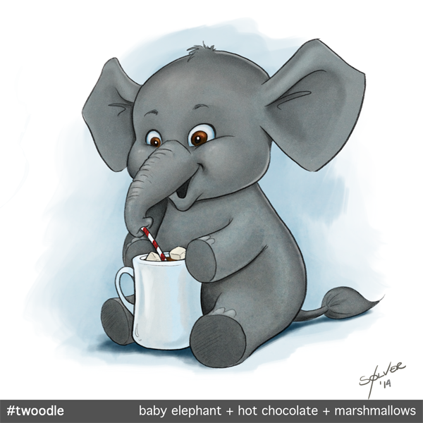 Twoodle: Baby elephant, hot chocolate, marshmallows