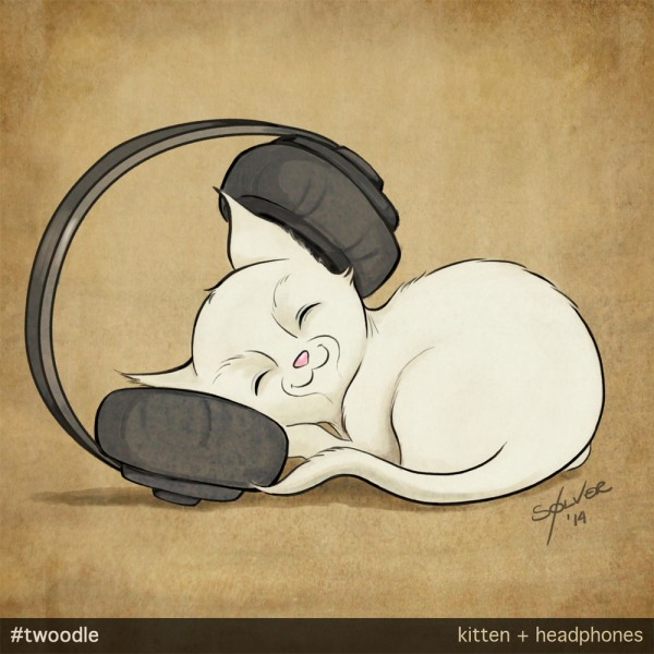 Twoodle: Kitten & headphones